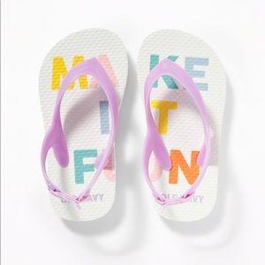 "NWT Old Navy ""Make It Fun"" Flip Flops Size 7"
